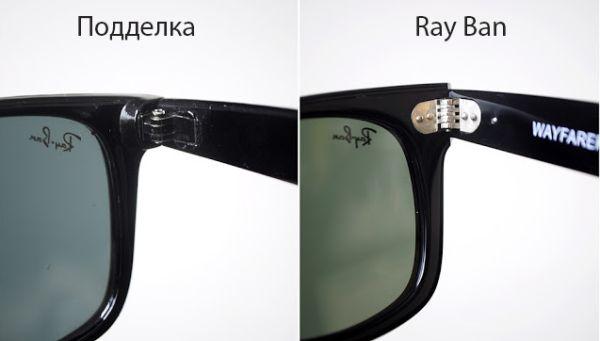 Подделка и оригинал очков Ray Ban