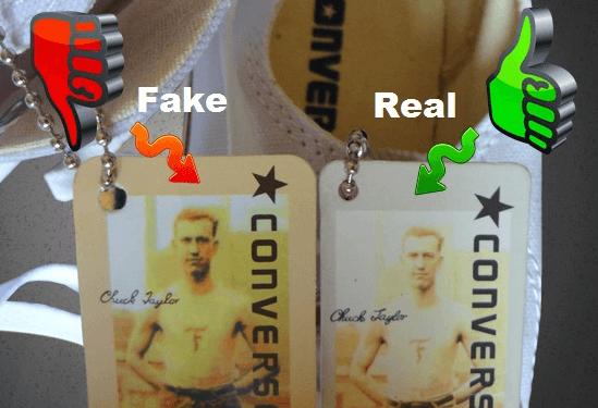 Бирка оригинальных и поддельных Конверс