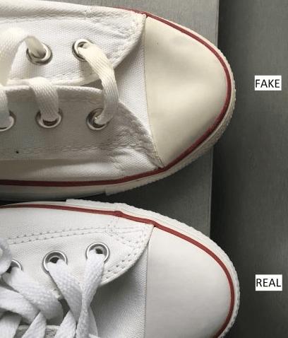 Нос оригинальных и поддельных кед Converse