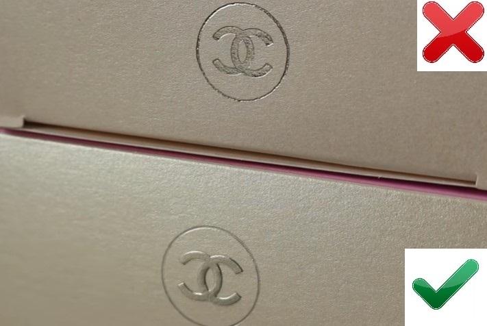 Логотип на упаковке поддельного Chanel Chance и оригинала