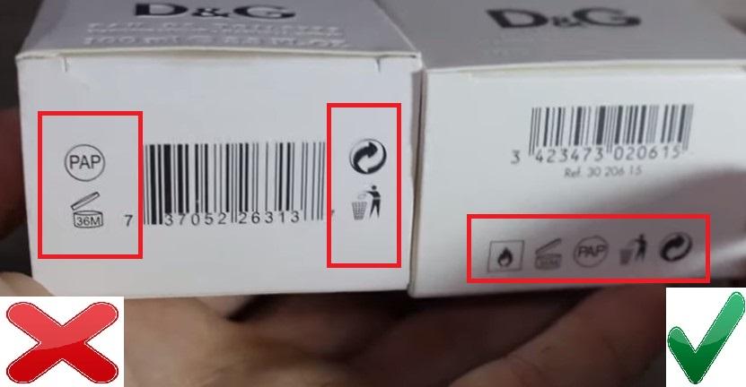 Упаковка D&G Императрица оригинал и подделка