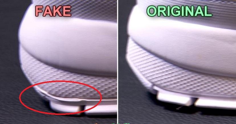 Дефекты на подошве поддельных Fila Disruptor