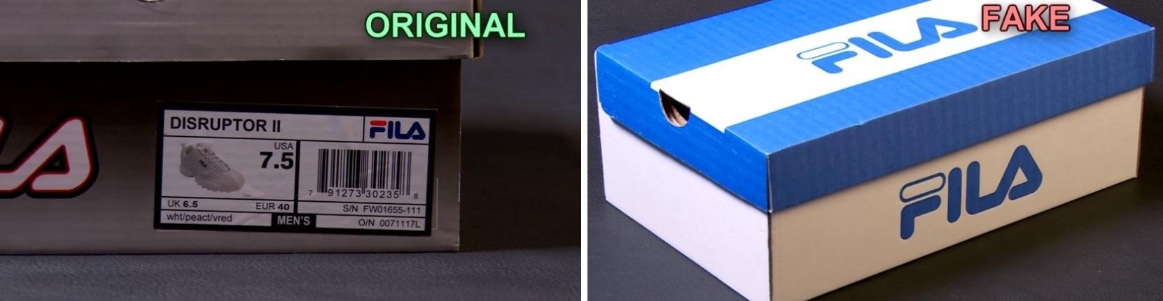 Наклейка на оригинале и фейк Fila Disruptor