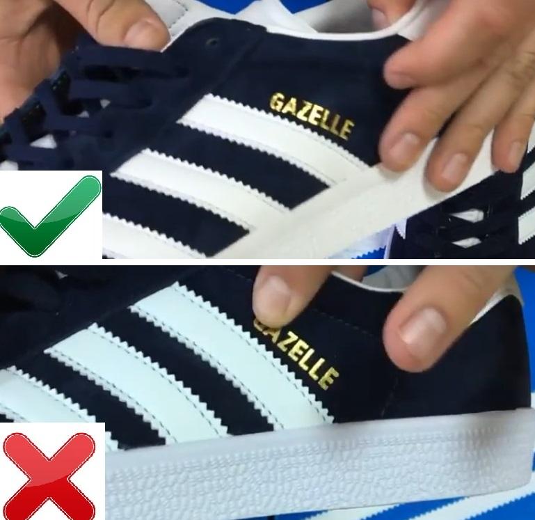 Надписи на оригинале и копии Adidas Gazelle
