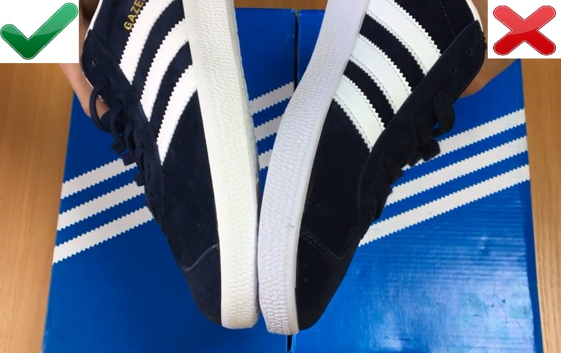 Размер оригинала и копии Adidas Gazelle