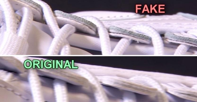 Срез кожи на оригинале и поддельных Fila Disruptor