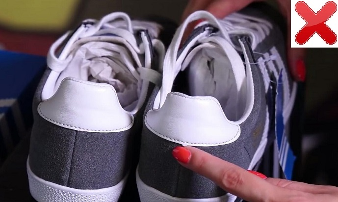 Задник поддельных кроссовок Adidas Gazelle