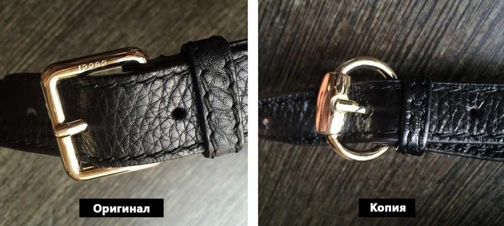 Застежка на оригинале и подделке Gucci