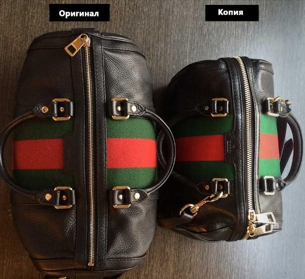 Размеры оригинальной сумки и подделки Gucci