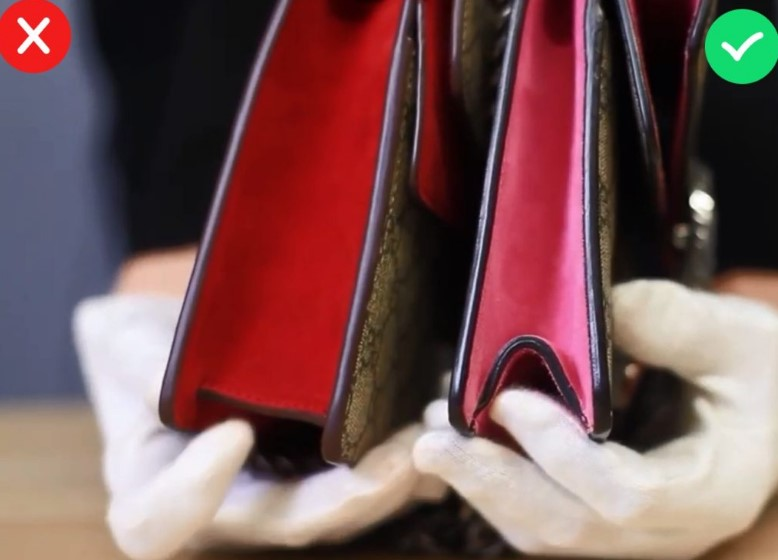 Конструкция подделки и оригинала сумки Gucci