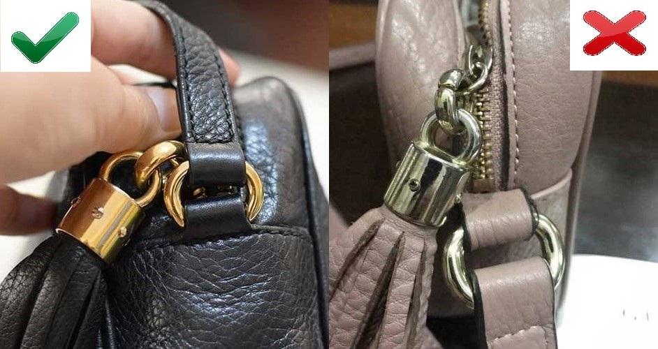 Кисточка на оригинале и подделке Gucci