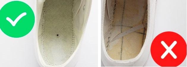 Отличие материала под стелькой у оригинальных и поддельных Converse