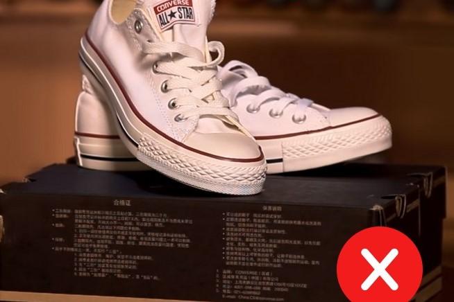 Китайские иероглифы на поддельных кедах Converse