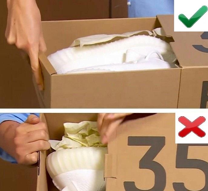 Упаковка оригинальных и поддельных Yeezy Boost