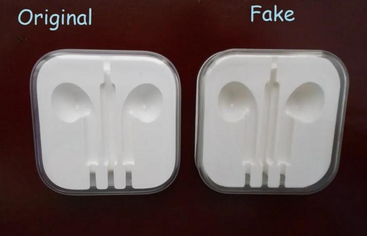 Кейс поддельных и оригинальных EarPods от Apple