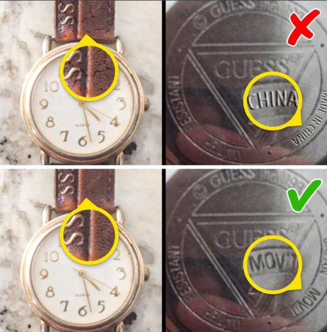 Оригинал и подделка часов Guess