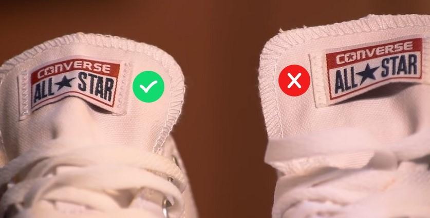 Швы на оригинальных и поддельных Converse
