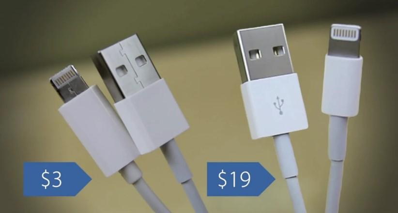 Цена оригинального и поддельного кабеля Lightning