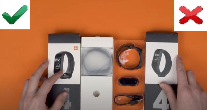Отличие упаковки оригинального Xiaomi Mi Band 4 и подделки