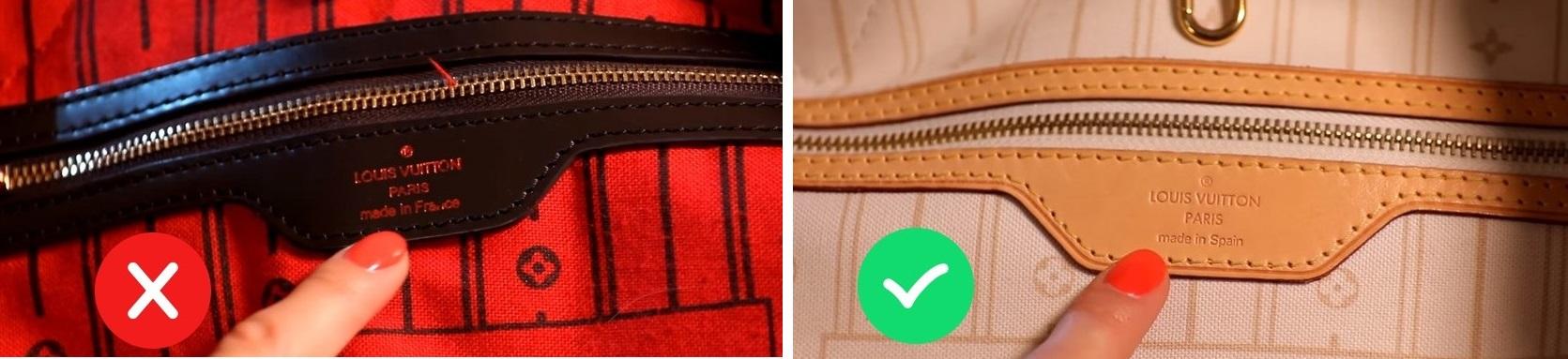 Логотип на оригинальной сумке Луи Витон и на подделке