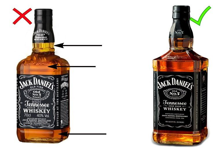Сравнение оригинального Джек Дэниэлс и подделки