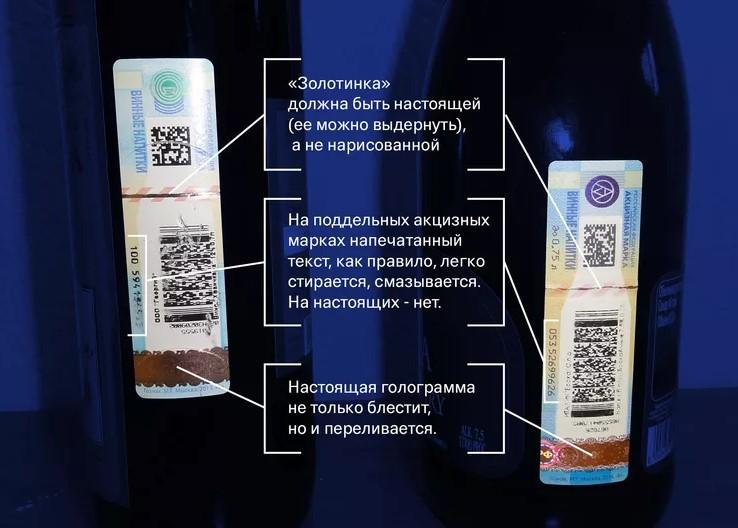 Подлинность акцизной марке на бутылке оригинального Киндзмараули