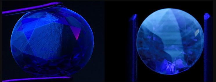 Камень сапфир в ультрафиолете