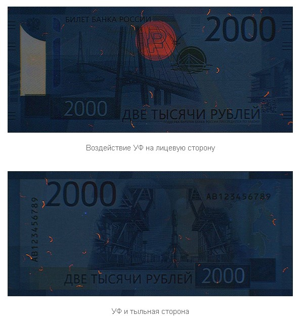 Просвечивание купюры 2000 рублей ультрафиолетом