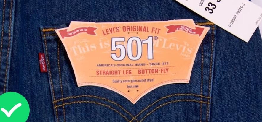Бирка на оригинальных Levi's