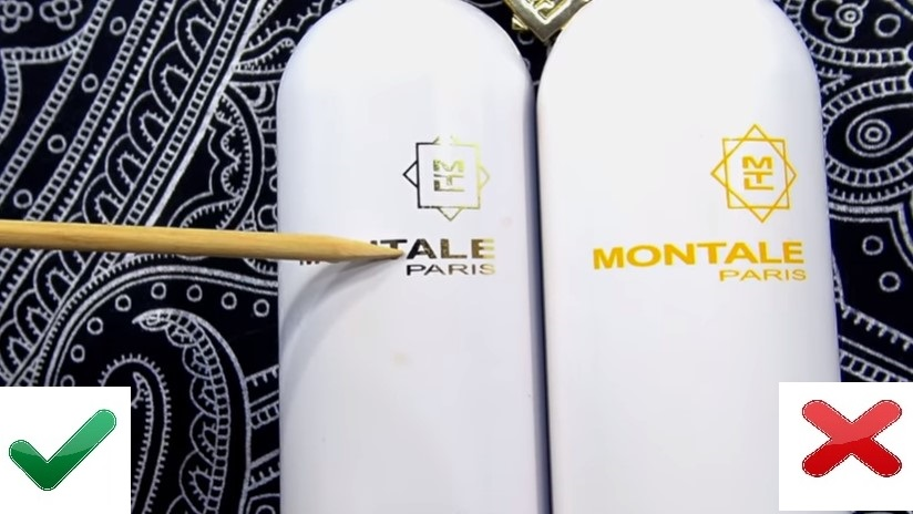 Название на флаконе оригинала и подделки Montale