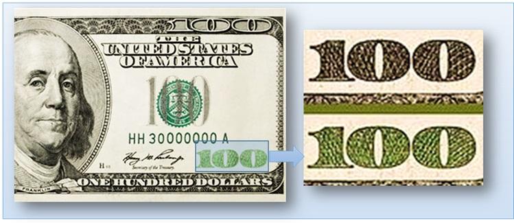 Изменение цвета номинала на долларах
