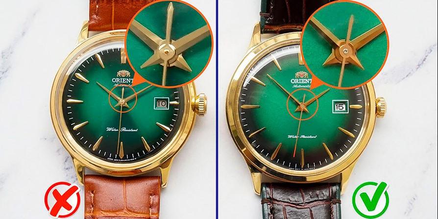 Стрелки на оригинальных часах Orient и на подделке