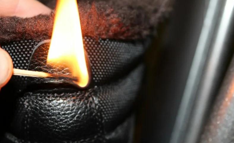 Проверка огнем натуральной кожи