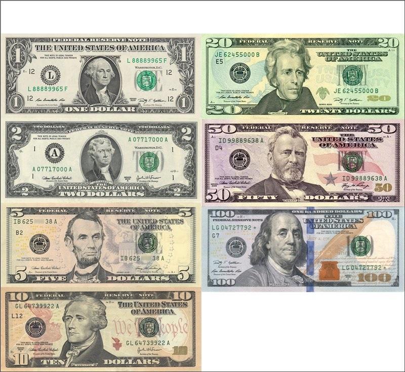 Портреты президентов на долларах