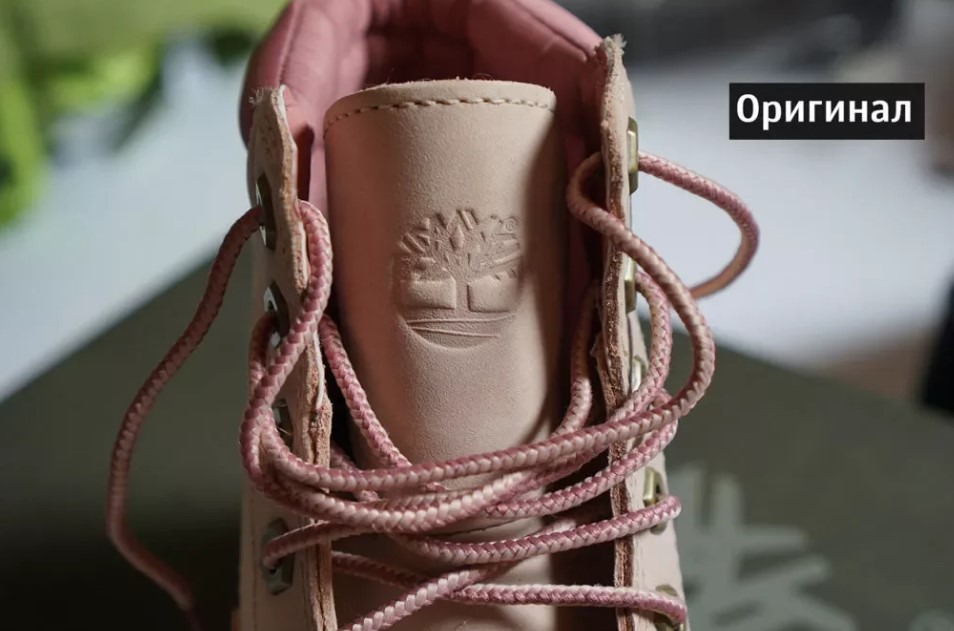 Логотип на оригинальных ботинках Timberland