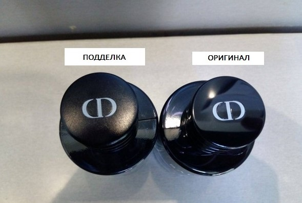 Крышка оригинального Dior и подделки