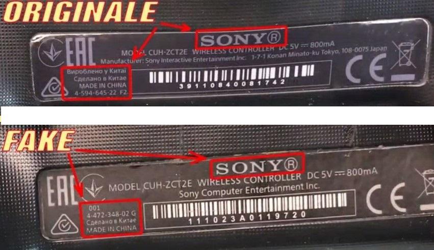 Наклейка на оригинальном Dualshock 4 и подделке