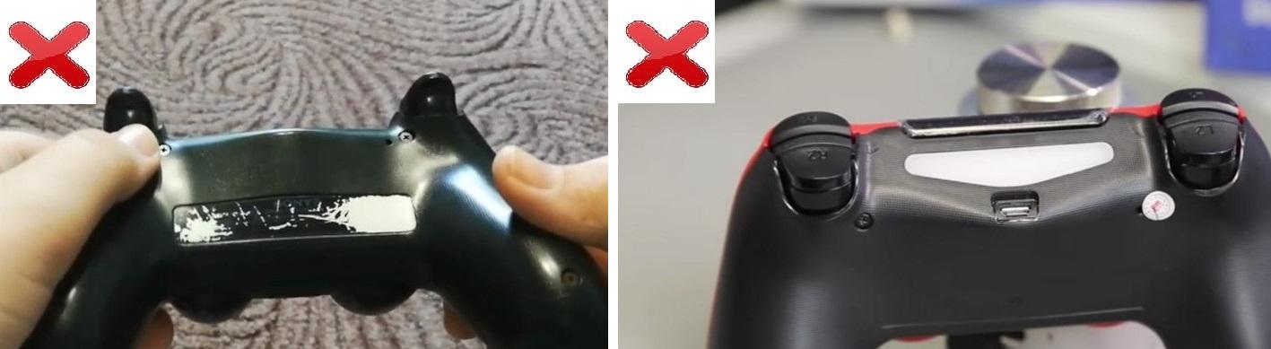 Наклейка на подделке Dualshock 4