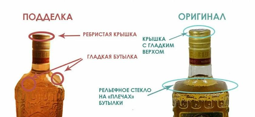 Сравнение бутылки оригинальной текилы Olmeca и подделки