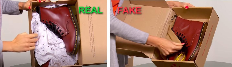 Упаковка оригинальных Dr. Martens и подделки