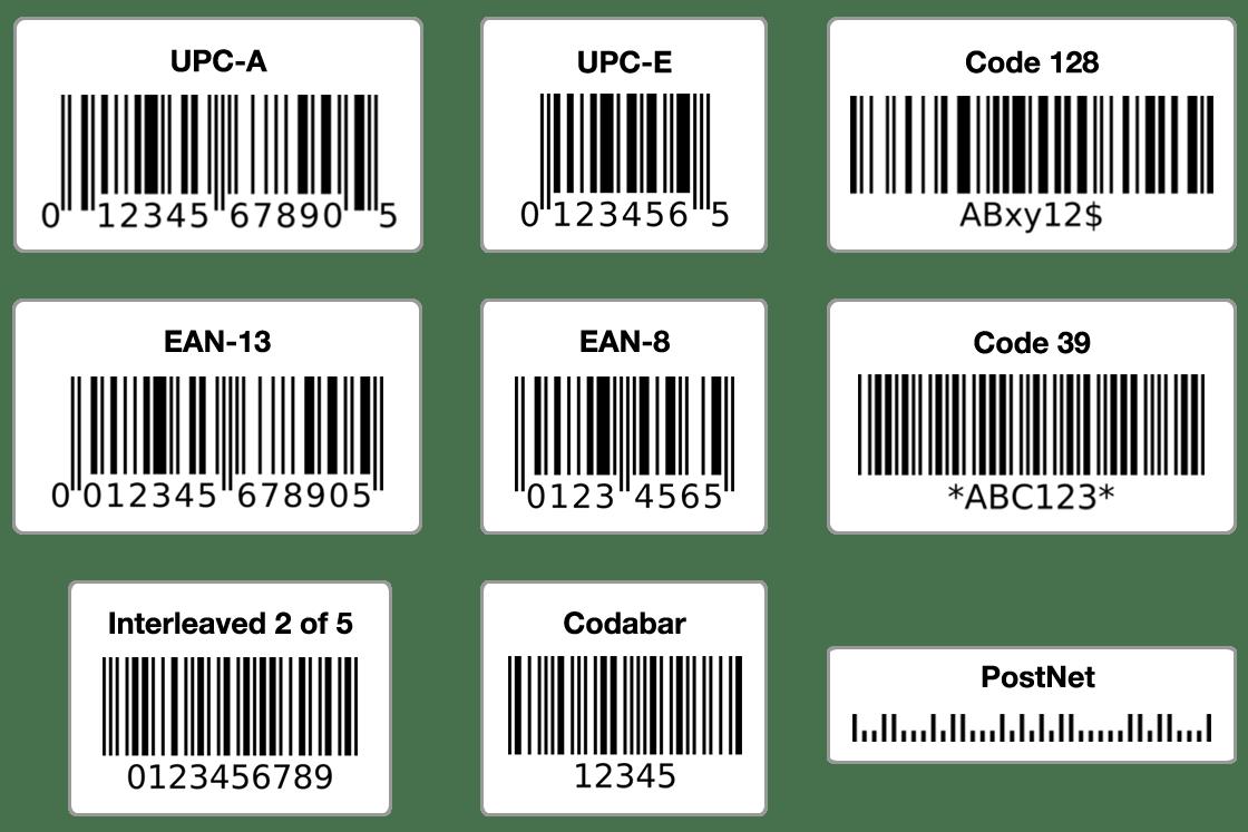 Виды штрих кодов