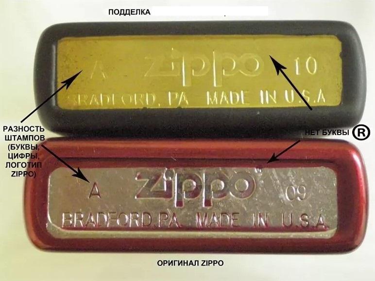 Сравнение дна оригинальной Zippo и подделки