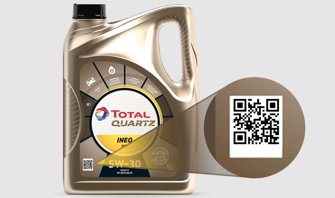 QR-код на канистре масла Total Quartz нового образца