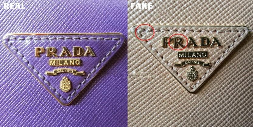 Сравнение логотипа оригинальной сумки Prada и подделки