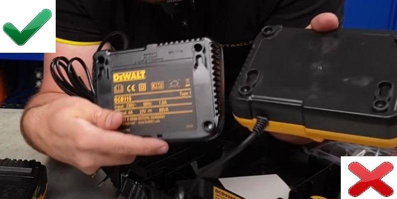 Зарядное устройство оригинального Dewalt и подделки