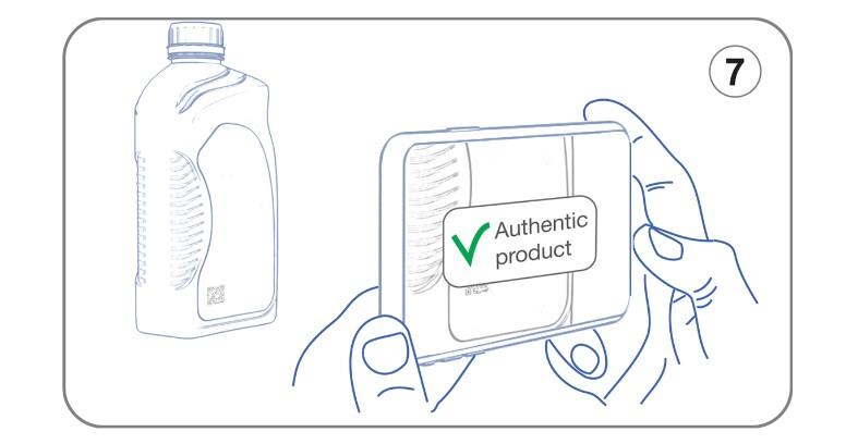 Проверка QR-кода на канистре масла Total Quartz нового образца