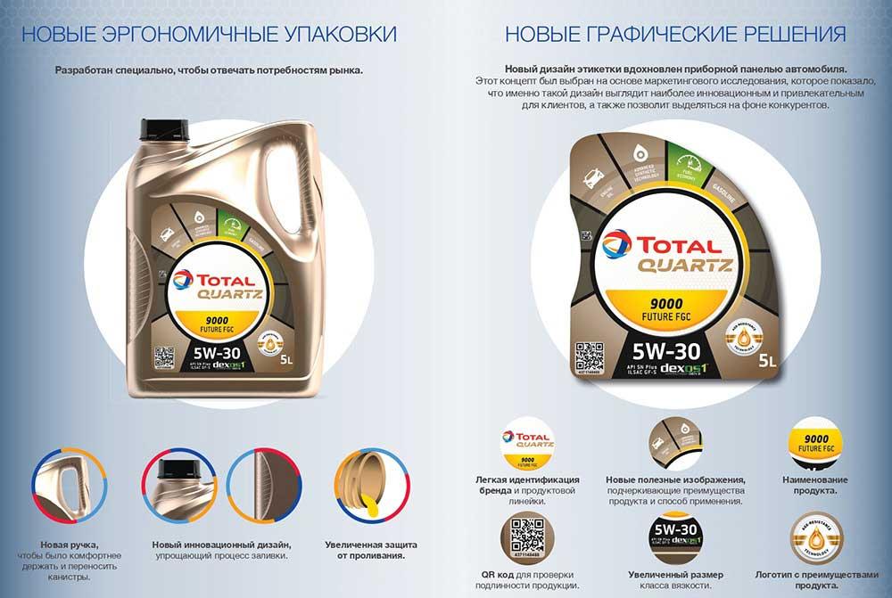 Новая упаковка масла Total Quartz