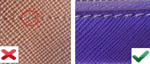 Швы на оригинальной и поддельной сумке Prada