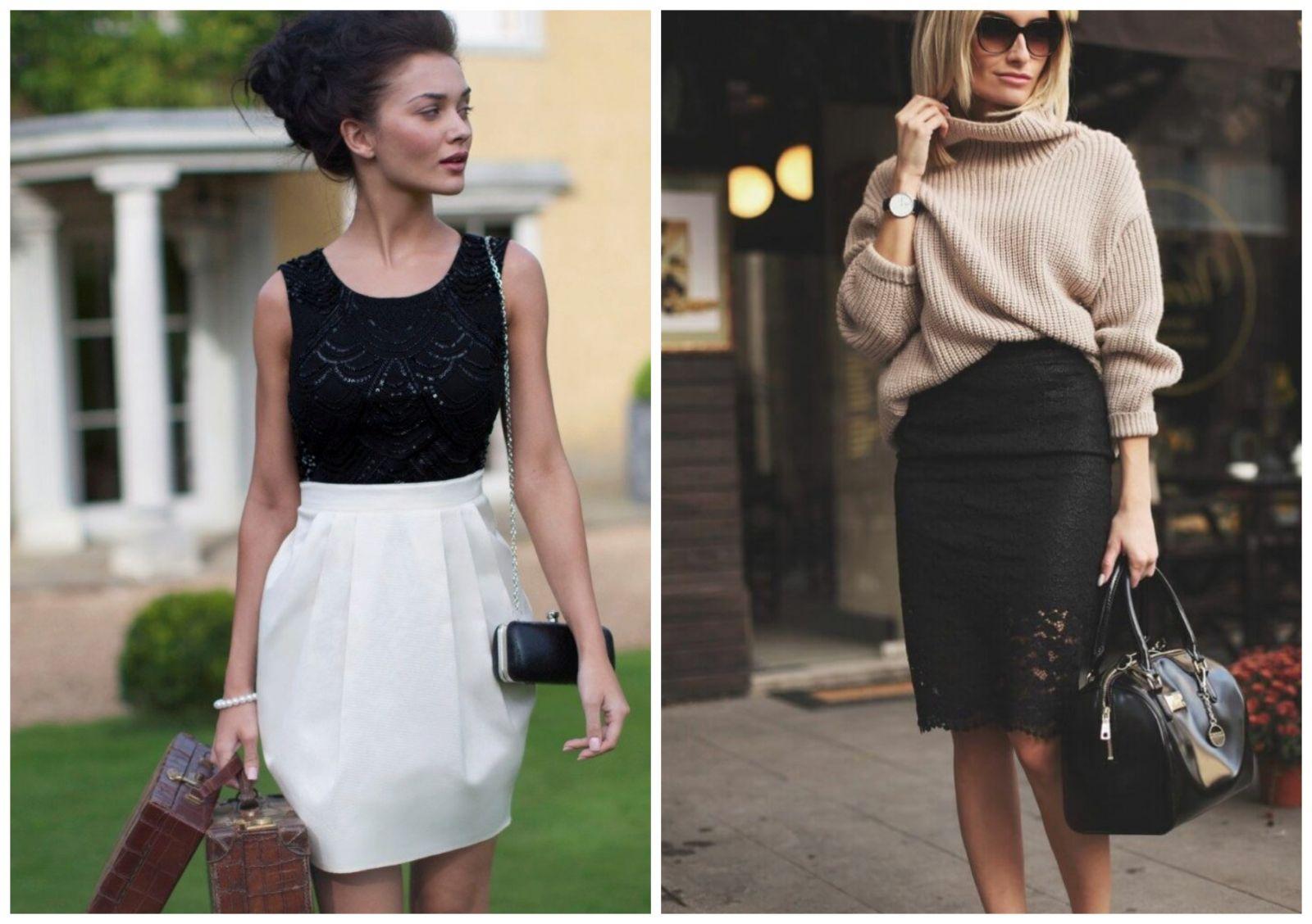 Юбка карандаш и юбка тюльпан.