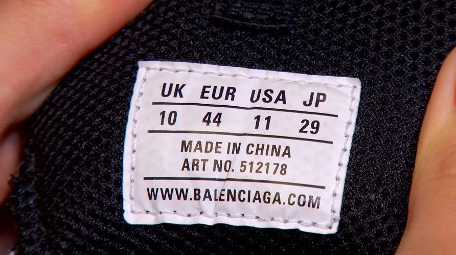 Бирка на оригинальных кроссовках Balenciaga
